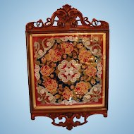 19th Century English Glazed & Framed Needlepoint & Beadwork Shield