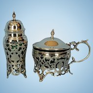 19th Century American or Canadian Sterling Silver Pepperette & Mustard Pot
