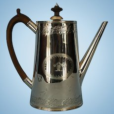 19th Century English Sterling Silver Coffee Pot by Frederick Brasted