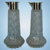Pair 19th Century Dutch Clear Glass Wine Jugs with 833 Fine Silver Collars & Lids