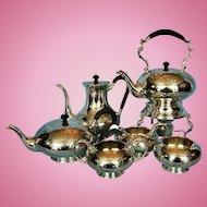 Vintage Six-piece Birks Sterling Silver Brentwood Pattern Tea & Coffee Service