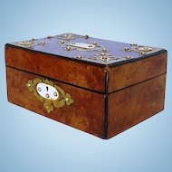 19th Century English Burr Walnut Box with Brass Mounts
