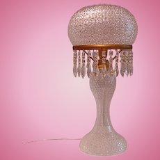 Vintage 1930s Bohemian Cut-glass Lamp