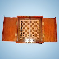 "19th Century Mahogany Cased ""Whittington"" Travelling Chess Set"