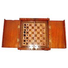 "19th Century Mahogany Cased ""Whittington"" Travelling Chess Set"