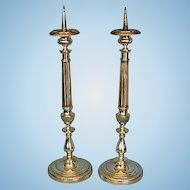 Pair 19th Century English Silvered Brass Pricket Candlesticks