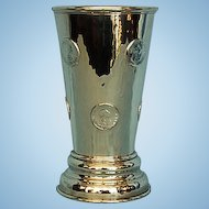 19th Century English Crested Silverplate Hand-hammered Wager Cup