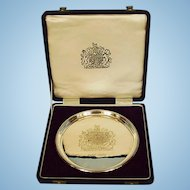 Vintage English Sterling Silver Commemoration Salver in Leather Case