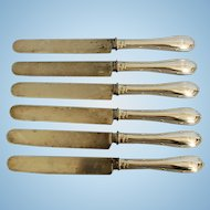 Six 19th Century German 800 Fine Silver Handled Dinner Knives with Carbon Steel Blades