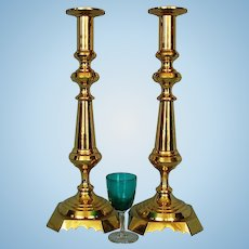 Pair 19th Century English Brass Candlesticks 17 inches