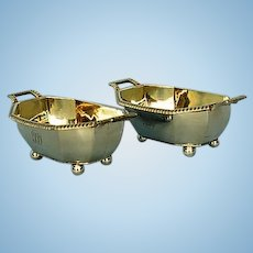 Pair Early 19th Century Georgian Sterling Silver Salt Cellars by HN
