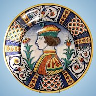 Vintage Italian Faience Charger by D. Grazia, Deruta
