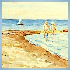 Original Signed Watercolor on Paper of Her Two Sons on the Beach in Denmark by Grand Duchess Olga Alexandrovna
