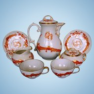 Early 20th Century German Porcelain Coffee Set by Thomas Porzellanfabrik in Saxon Court Red Dragon Pattern