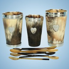 Three Antique Exeter Sterling Silver and Horn Beakers by Josiah Williams & Company with Eight Horn Spoons