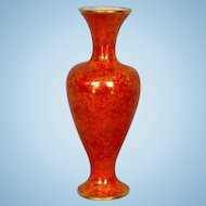 Antique English Mottled Orange Lustre Glazed Vase with Gold Banding by Wiltshaw & Robinson