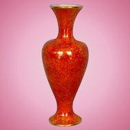 Antique English Mottled Orange Lustre Glazed Vase with Gold Banding by Wiltshaw & Robinson