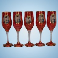 Five Antique Bohemian Ruby Red Champagne Flutes with Gilt Vermicelli and Portrait of 19th Century Persian King