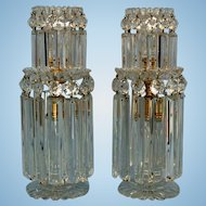 Early 19th Century Pair English Cut Glass and Ormolu Two Tier Regency Lustres in the Manner of John Blades