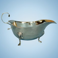 Antique Irish Sterling Silver Sauce Boat by Wakely and Wheeler