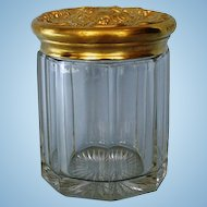 19th Century English Panelled Glass Humidor or Tobacco Jar with Gilded Brass Embossed Cover