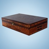 Early 20th Century Damascus Inlaid Box of Various Woods and Mother-of-Pearl