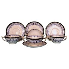 Four Antique Royal Crown Derby Bouillon Bowls and Underplates
