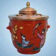 Antique Limoges Porcelain Chinoiserie-Decorated Ink Well with Gilt Copper Mount