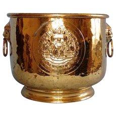 Antique Dutch Brass Jardinière with Ring Handles in Lion Head Mounts