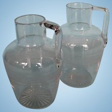 Pair Antique English or American Blown and Etched Clear Glass Carafes