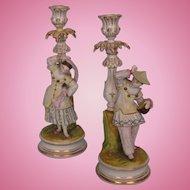 Pair Antique German Glazed and Bisque Figural Candlesticks