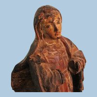 18th Century Continental Polychromed Gilt-Wood Figure of the Virgin