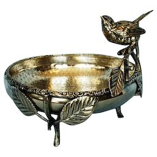19th Century Canadian Silverplate Bowl with Bird on Branch by Toronto Silver Plate Co.