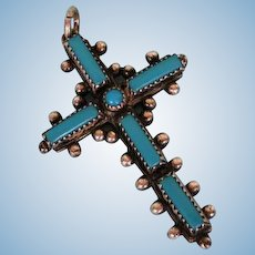 Mid-Century American Sterling Silver and Turquoise Cross by John Michalson, Albuquerque