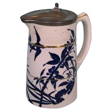 19th Century English Stoneware Pitcher with Pewter Cover and Mount