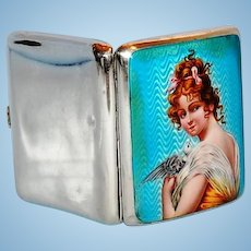Turn of the Century English Enameled Sterling Silver Case