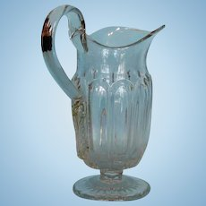 19th Century American Glass Pitcher with Applied Strap Handle
