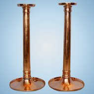 Early 19th Century Georgian Pair Copper Columnar Candlesticks
