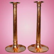 Early 19th Century Georgian Pair Copper Columnar Candlesticks