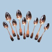 Early 19th Century Québec Assembled Sterling Silver Fiddle & Shell Spoons by James Ellis