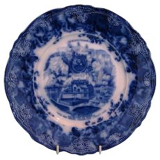 Antique Wedgwood Blue and White Plate Commemorating Quebéc Tercentenary