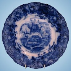 Antique Wedgwood Blue and White Plate Commemorating Quebéc Tercentenary