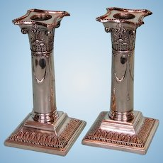 Antique Pair English Silverplate Corinthian Column Candlesticks by Hawksworth Eyre