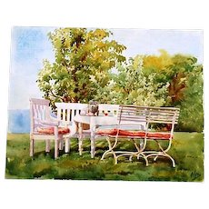 Original Signed Watercolour of Table and Seating in Park at Hvidore by Grand Duchess Olga Alexandrovna