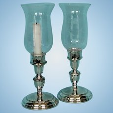 Mid-Century Pair of Birks Sterling Silver Candle Sticks with Glass Hurricane Shades.