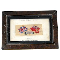 "Antique Framed ""Hands Across the Sea"" Stevengraph Postcard of RMS Empress of Britain"