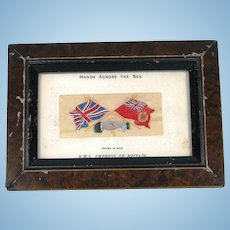 """Antique Framed """"Hands Across the Sea"""" Stevengraph Postcard of RMS Empress of Britain"""