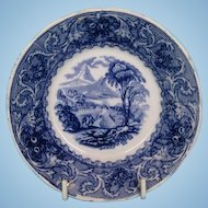 """19th Century English Blue and White """"Lake"""" Series Saucer of Georgeville, Quebec by Francis Morley"""