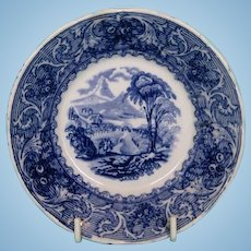 "19th Century English Blue and White ""Lake"" Series Saucer of Georgeville, Quebec by Francis Morley"