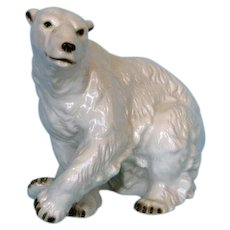 Mid-century Large Royal Dux Porcelain Polar Bear